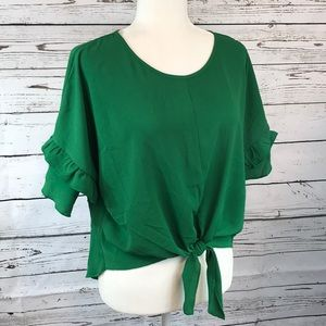 Jennie&Marlis-Kelly green ruffle crop with tie, L